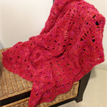 Variegated Red/Orange Crochet Blanket/Lap Rug/Throw