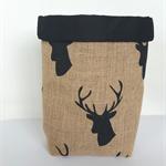 Deer lined hessian basket