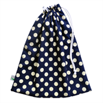 Large Swim Bag / Waterproof Wet Bag. Navy with Cream Dots. Pool or Beach Bag.