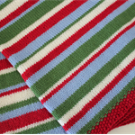Red/Green/Light Blue/White Striped Pram Blanket - Hand knitted in pure wool