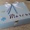 Baby Boy Personalised Keepsake Treasure Trinket Memory Wooden Box - Blues