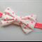 Classic white/ hot pink dot  bow stretch headband