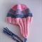 Hand Knit Wool Baby Beanie Hat, Earflap & Ties, Baby, Pink/Green/Grey