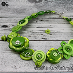 Lime Green Spider pearl free-formed wired Button Necklace - Chunky