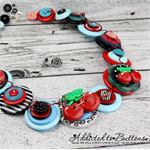 Cherry Ripe - Teal Red Black - Button Necklace - Button Earrings - Set