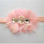 Pink flowers chiffon stretch headband