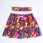 Betty Skirt & Head Scarf Set - Rainbow Geo -Bright - Retro - Girls