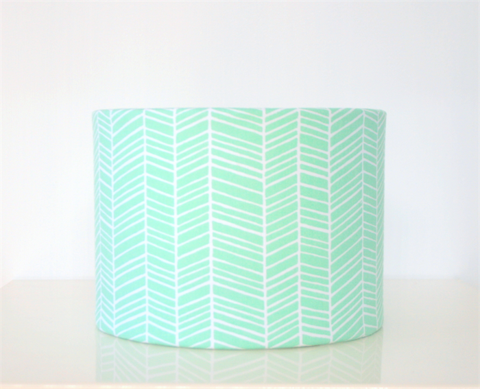 Mint green herringbone fabric table lampshade