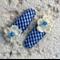 Cute Baby/Infant Blue & Cream Flower Clips
