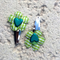 Cute Baby/Infant Green & White Flower Clips