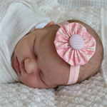 Newborn Headband - pink fabric yoyo