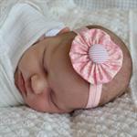 Newborn Headband - pink fabric yoyo