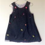 Girls dress .Reversible embroidered lightweight denim and cotton dress.size 4