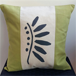 Cushion Cover - offwhite/green/charcoal with handprinted charcoal grey design