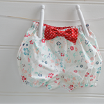 Girls bloomers - nappy cover, red and white spots, floral, baby gifts