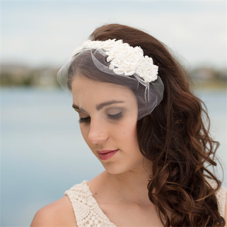 Bridal Ivory lace & pearl headpiece and veil