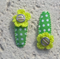 Cute Baby/Infant Green Yellow & White Flower Clips