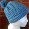 Adult Teal Blue Cable Beanie with pompom. 100% Wool