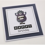 Navy Monster Birthday Card