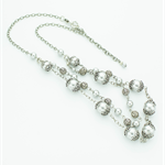 Grey Pearl Necklace with Bracelet & Matching Earrings