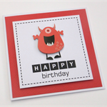 Red Monster Birthday Card