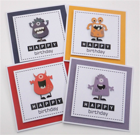 Set of 4 Monster Birthday Cards