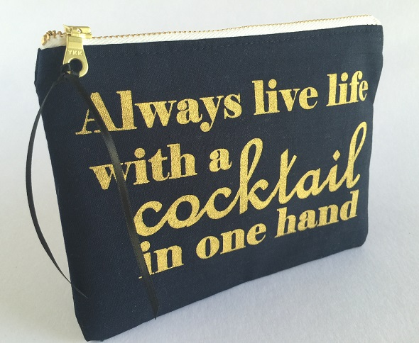 Quirky Quote Live Life With A Cocktail Purse Clutch Tote Bag