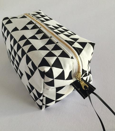 Monochrome Makeup Bag Triangle Print Black White Large Cosmetic
