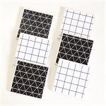 Grid Coasters: 6 Ceramic Tile Drink Coasters Geometric Monochrome