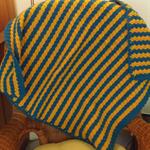 Baby Blanket, Crochet, Wool, Pram, Green - Gold