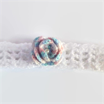 baby girl crochet headband | white with rose | gift | 9 months - 5+ years
