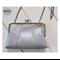 Grey leather handbag with clasp clutch