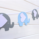 Blue and Grey Elephant Banner/Garland. Birthday party, baby shower, new baby.