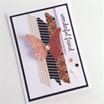 Copper bronze glitter butterfly washi tape wonderful friend birthday card