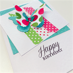 Bright happy funky pink aqua lime green butterfly happy birthday for her card