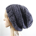 Chunky knit slouchy alpaca wool hat dark grey warm men women beanie