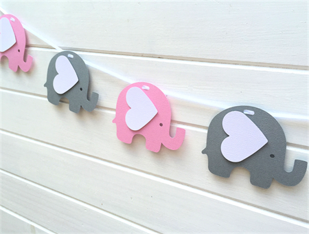 Pink and Grey Elephant Banner/Garland. Birthday party, baby shower, new baby.