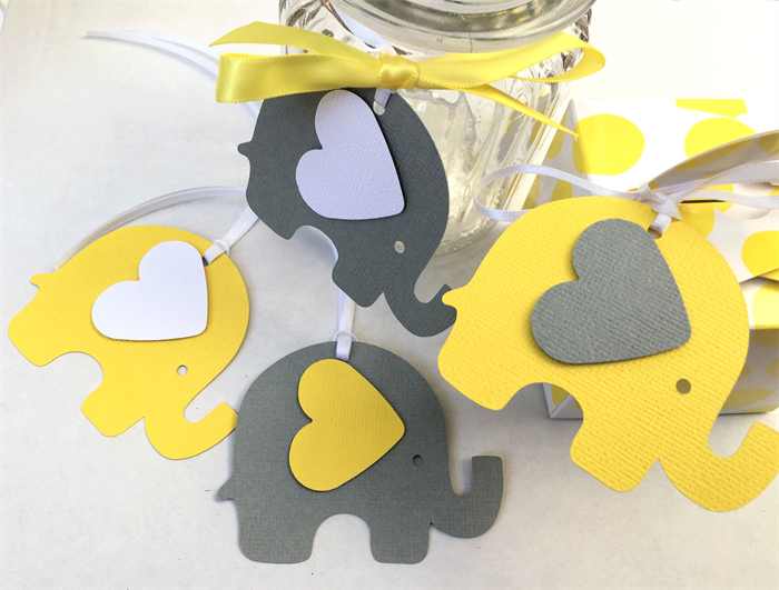 Yellow Grey Elephant Baby Shower Gift Tags Favor Tag Baby Boy