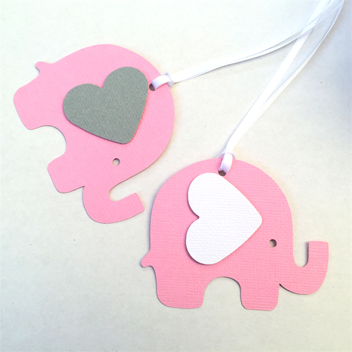 Gianna S Pink And Gray Elephant Nursery Reveal: Pink And Grey Elephant Baby Shower Gift Tags. Favor Tag