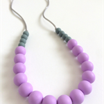 Washable Silicone Necklace Lavender & Pewter