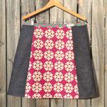 Garden Hydrangea Mustard & Burgundy with denim, A line skirt