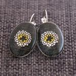Black Linen Bloom ~Oval Lever Back Earrings