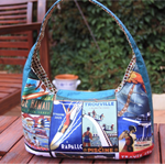 Retro, Vintage 'Surfing' fabric. Medium sized shoulder handbag. Made to order.