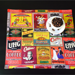 Funky,Retro Coffee fabric placemats.Square or rectangle in settings of 4,6,8 &10