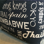 Large Hessian tote with a contrasting typography cities fabric. Carry on bag.