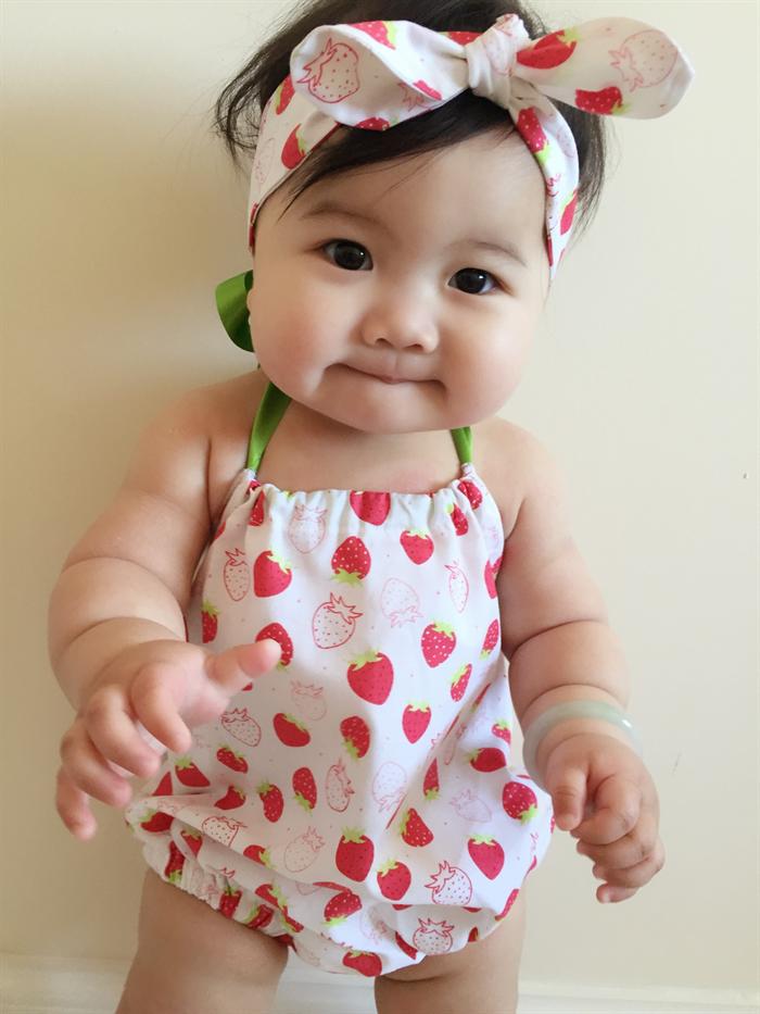 ... Scented Strawberry Baby Girl Romper   headband - newborn b649b985431