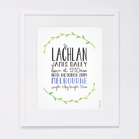 8x10 Personalised Baby Name Announcement Nursery Art Print Wreath – Baby Name Announcement