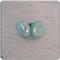 """Shimmering Emerald Sea"" Aqua & Silver Polymer Clay Earrings"