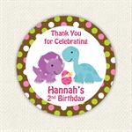 Dinosaur Birthday Stickers 12 x 65mm Girl