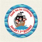 Pirate Ship Birthday Stickers 12 x 60mm